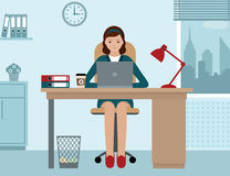 Business woman or a clerk working at her office desk. Flat style modern vector illustration Royalty Free Stock Photography