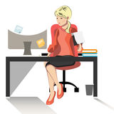 Business woman or a clerk working at her office desk. Flat style modern vector illustration Royalty Free Stock Photos