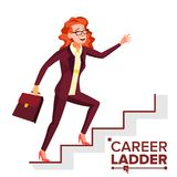 Business Woman Climbing Career Ladder Vector. Fast Growth. Stairs. Job Success Concept. Step By Step. Isolated Cartoon. Business Woman Climbing Career Ladder Stock Photos