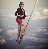 Business woman climbing Royalty Free Stock Photos