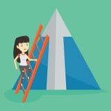 Business woman climbing on mountain. Royalty Free Stock Photos