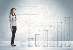 Business woman climbing up on hand drawn graphs concept Stock Images