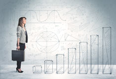 Business woman climbing up on hand drawn graphs concept Stock Photography