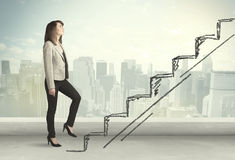 Business woman climbing up on hand drawn staircase concept Stock Photography