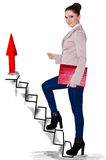 Business woman climbing up on hand drawn staircase. Isolated on white Stock Photos