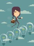 Business woman climbing up ideas Royalty Free Stock Photos