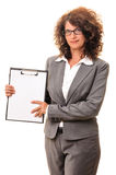 Business woman with clipboard copy space Royalty Free Stock Photography