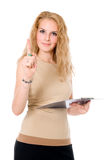 Business woman with a clipboard in hand, shaking his finger Stock Photos