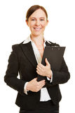 Business woman with clipboard in her hands Royalty Free Stock Images