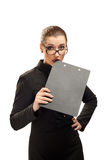Business woman with clipboard isolated on white Royalty Free Stock Photography