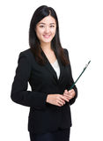 Business woman with clipboard Stock Image