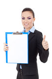 Business woman clipboard and ok Royalty Free Stock Photo