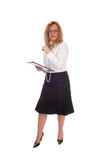 Business woman with clipboard. Royalty Free Stock Photos