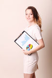 Business woman with clipboard Royalty Free Stock Photo