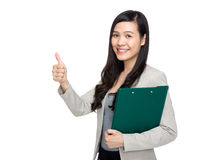 Business woman with clipboard and thumb up Stock Image