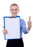 Business woman with clipboard and thumbs up Stock Photography