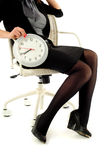 Business woman with clock Royalty Free Stock Photo