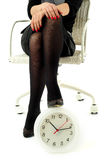 Business woman with clock Royalty Free Stock Photography