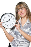 The business woman with clock in hands Stock Photo
