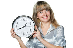 The business woman with clock in hands Stock Images