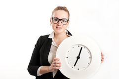 Business woman with  clock on  light background Royalty Free Stock Photo