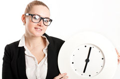 Business woman with  clock on  light background Stock Images