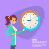 Business Woman With Clock Time Management Concept Stock Photos