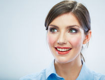Business woman close up face portrait. Female model close up Stock Photography