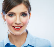 Business woman close up face portrait. Female model close up Royalty Free Stock Photo