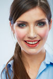 Business woman close up face portrait. Female mode Royalty Free Stock Photos