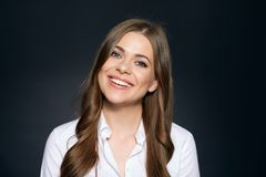 Business woman close up face portrait. Stock Photo