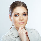 Business woman close up white background portrait. Stock Image