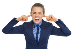 Business woman closing ears Royalty Free Stock Photo