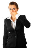Business woman closing mouth by hand Stock Images