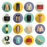 Business Woman Clothes Icons Set Royalty Free Stock Photography
