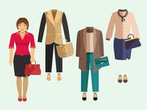 Business Woman Clothes Set. Business woman clothe collection decorative icons set isolated vector illustration Stock Photo