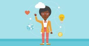 Business woman and cloud computing. Stock Image