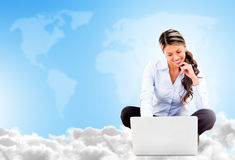 Business woman cloud computing Stock Photo
