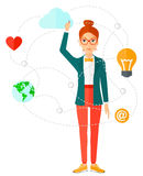 Business woman and cloud computing Royalty Free Stock Photography