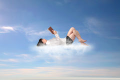 Business woman on a cloud Stock Photos