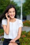 Business woman coffee break cellphone Stock Image