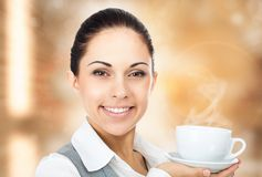 Business woman coffee cup with steam royalty free stock images