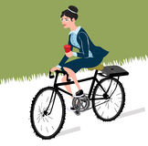 Business woman with coffee ride a bike.City style business lady riding on a cruiser bicycle. Business woman with coffee and bike Royalty Free Illustration