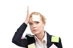 Business woman with colored stickers on her face Stock Image