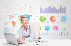 Business woman with colorful charts Stock Photo
