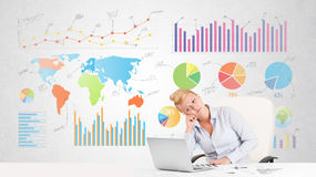 Business woman with colorful charts Royalty Free Stock Photo