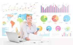 Business woman with colorful charts Stock Photography