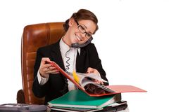 Business woman communicating to someone Stock Photography