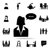 Business woman with a communication bubble icon. Detailed set of conversation icons. Premium graphic design. One of the collection. Icons for websites, web royalty free illustration