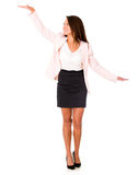 Business woman comparing two elements Stock Images